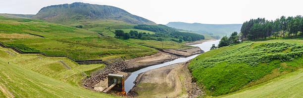 Low water level in Dovestone Reservoir stock photo