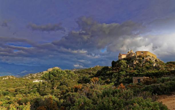 Low wide angle shot of Notre Dame de la Serra Calvi Corsica at sunset