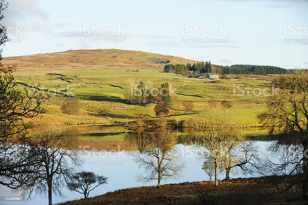 Low winter sunset in rural Scotland in Dumfries and Galloway royalty-free stock photo