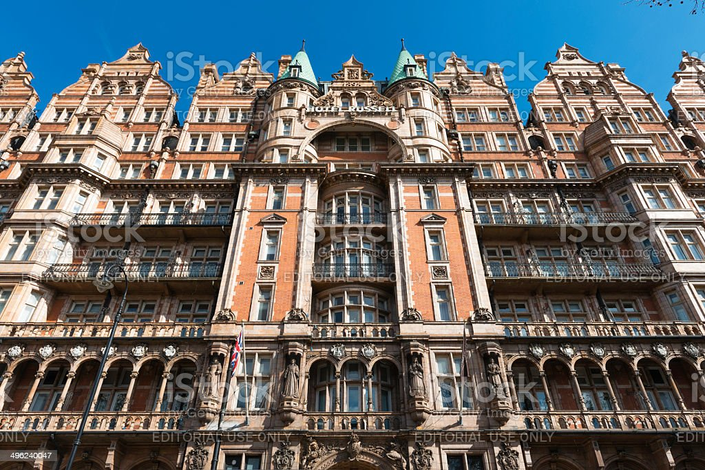 Low-angle view of the Hotel Russell in London stock photo