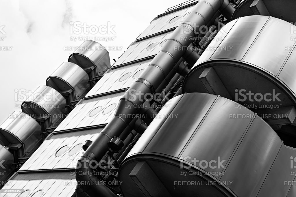 Low-angle view of the Lloyds Building in London's Financial Center stock photo