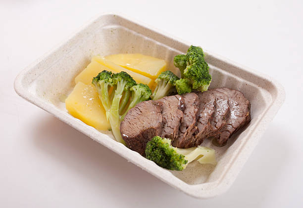 Low-calorie food Meat, potatoes,broccoli and cabbage in delivery container fruit carton stock pictures, royalty-free photos & images