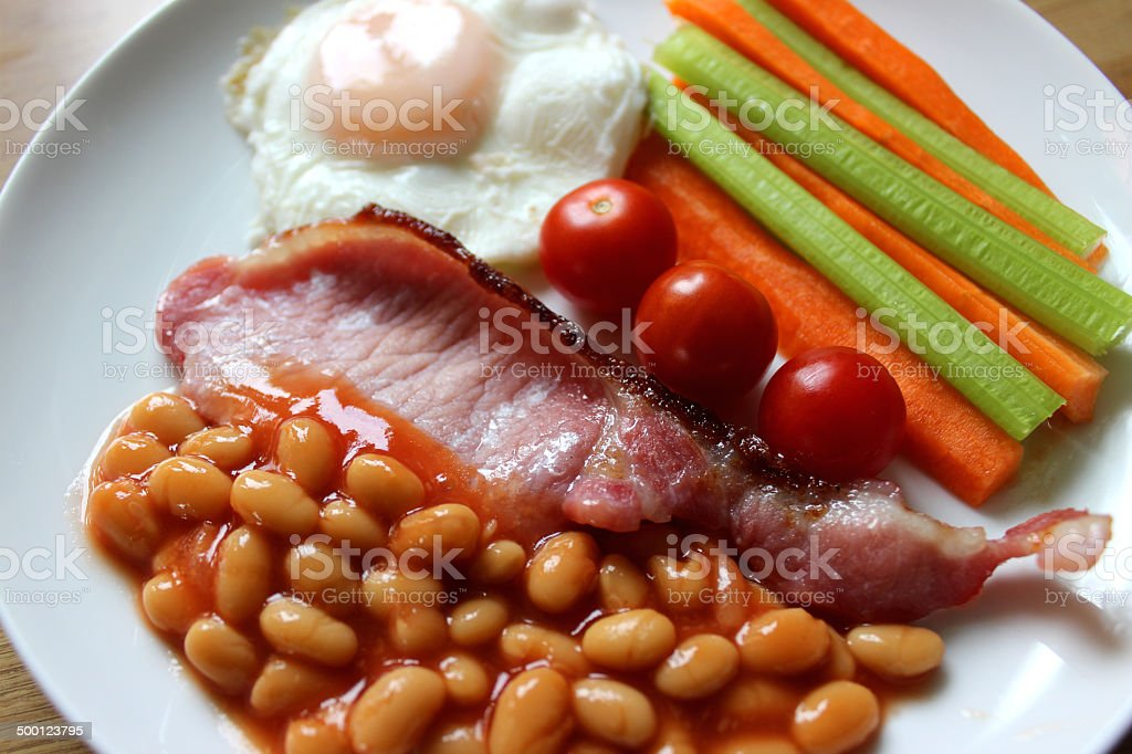 Lowcalorie Healthy Friedbreakfast Bacon Poached Egg Raw Vegetables