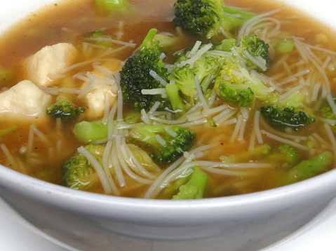Lowcalorie Lowcarb Bowl Homemade Chicken Noodle Soup Broth Broccoli
