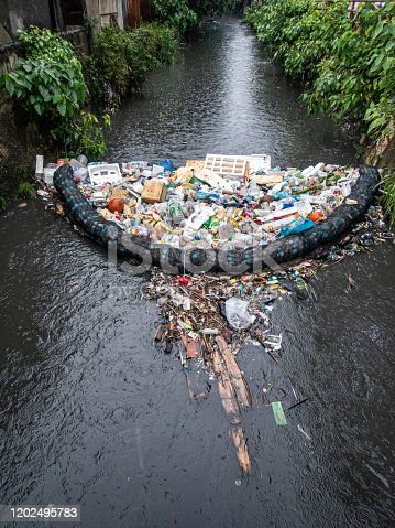 Low-cost garbage filtering system that catches all forms of rubbish in a dirty flowing river in Cebu City, Philippines.