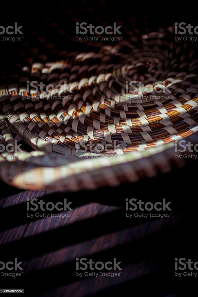 Lowcuntry Sweetgrass handwoven basket stock photo
