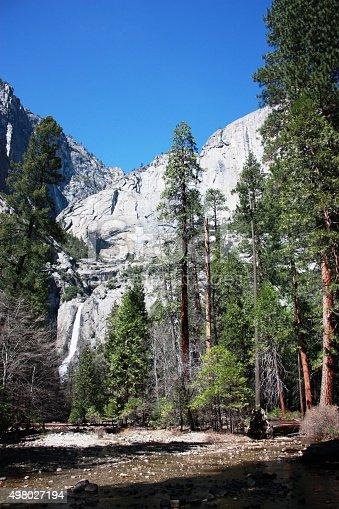 Lower and Upper Yosemite Falls under blue sky in Yosemite National Park, California USA