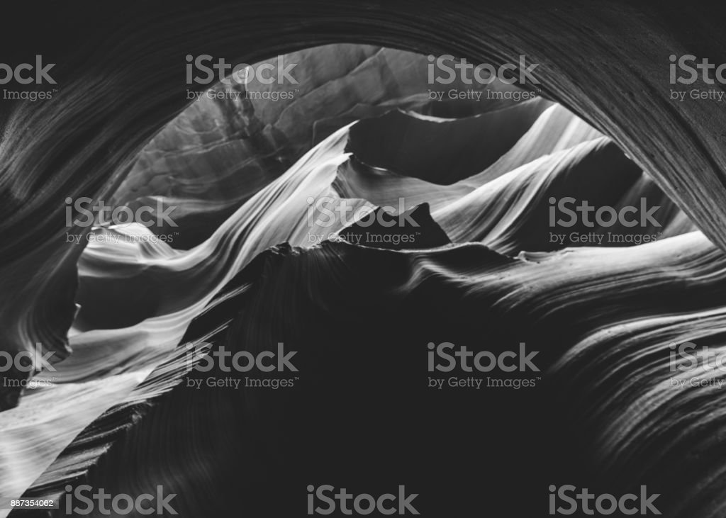 lower antelope canyon black and white stock photo