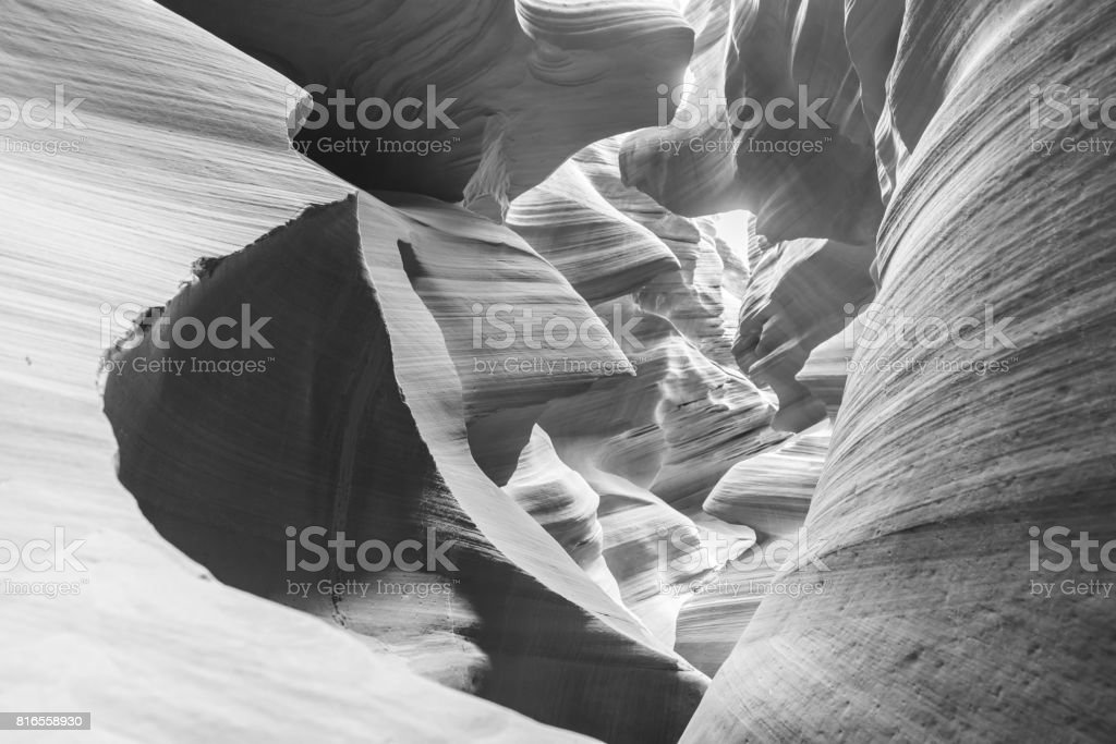 Lower Antelope Canyon - located on Navajo land near Page, Arizona, USA - beautiful colored rock formation in slot canyon stock photo