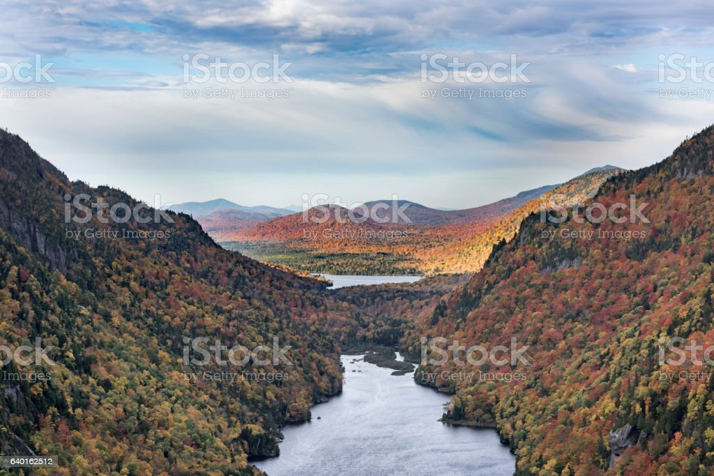 Lower Ausable Lake in the Adirondack Mountains stock photo