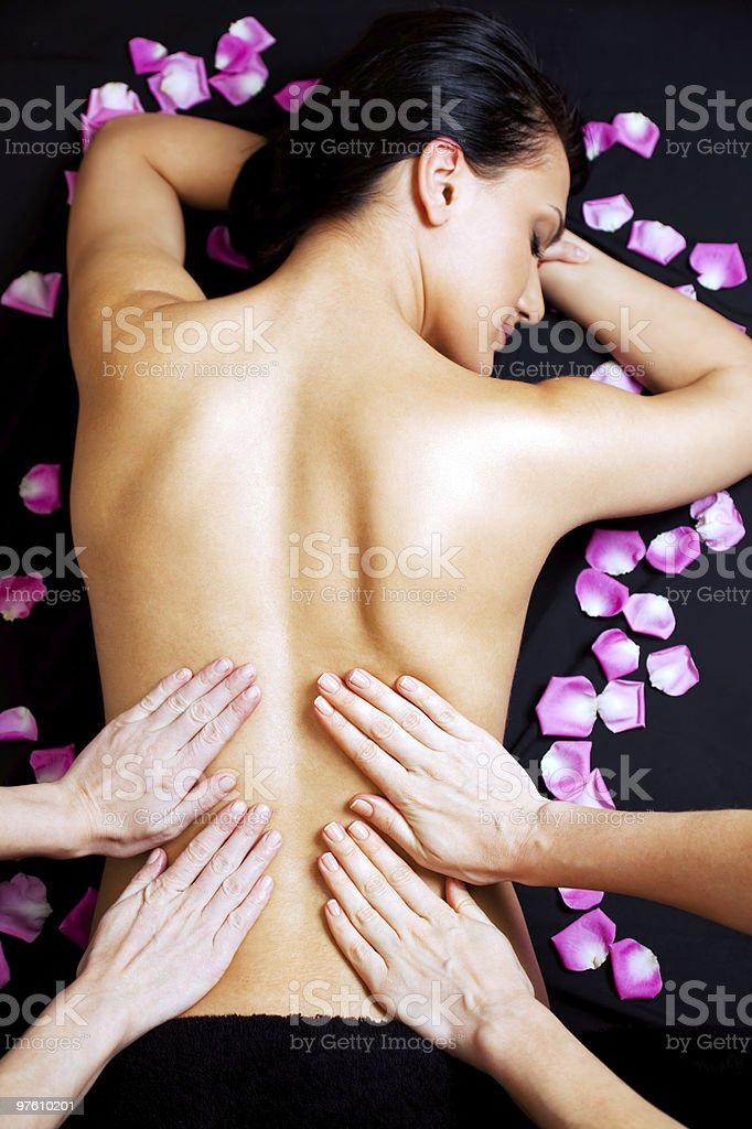 Lower back massage royaltyfri bildbanksbilder