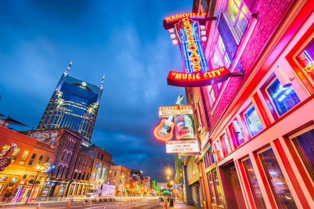 Lower Broadway Honky Tonks Nashville, Tennessee stock photo
