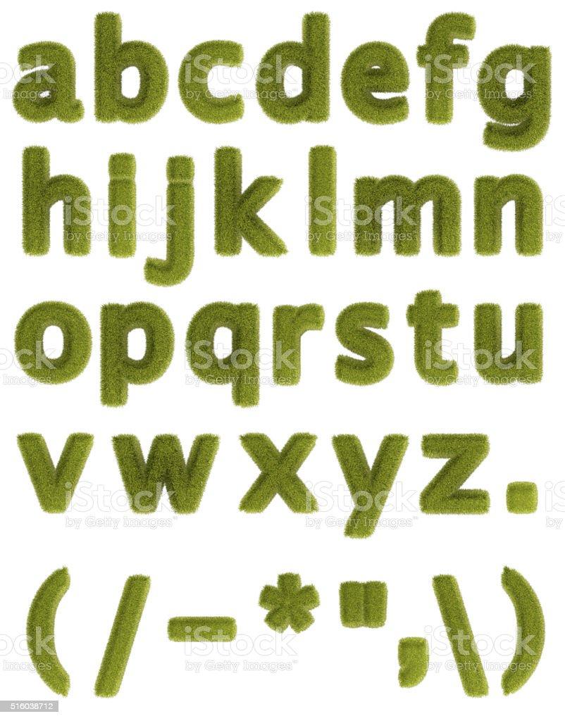 Lower case grass alphabet stock photo