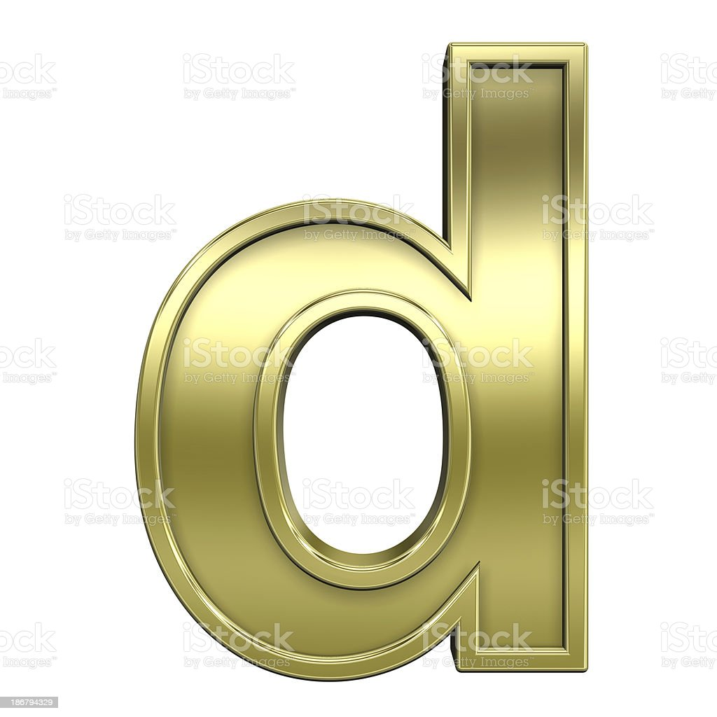 Lower case letter from shiny gold with frame alphabet set stock photo