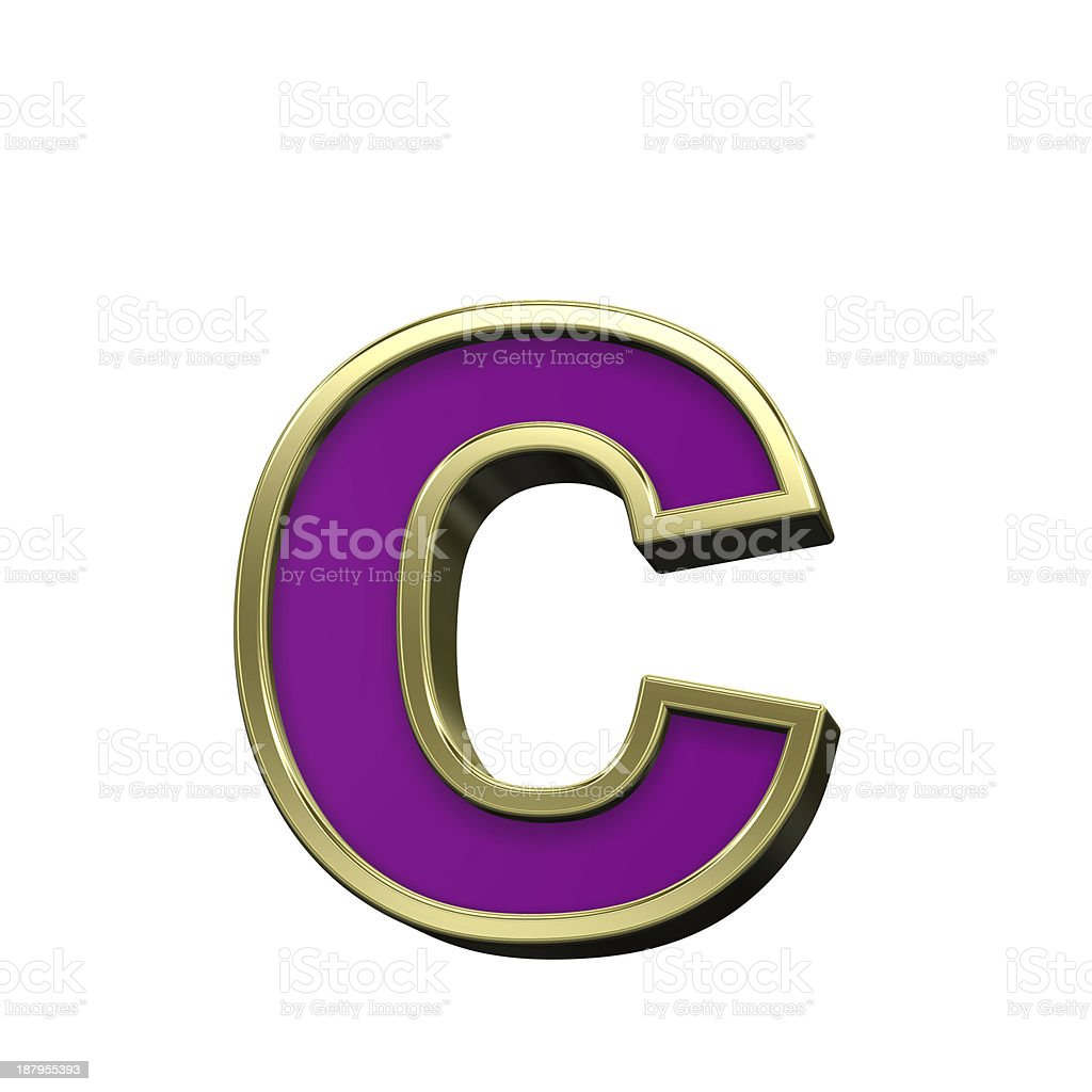 Lower case letter from violet with gold frame alphabet set stock photo