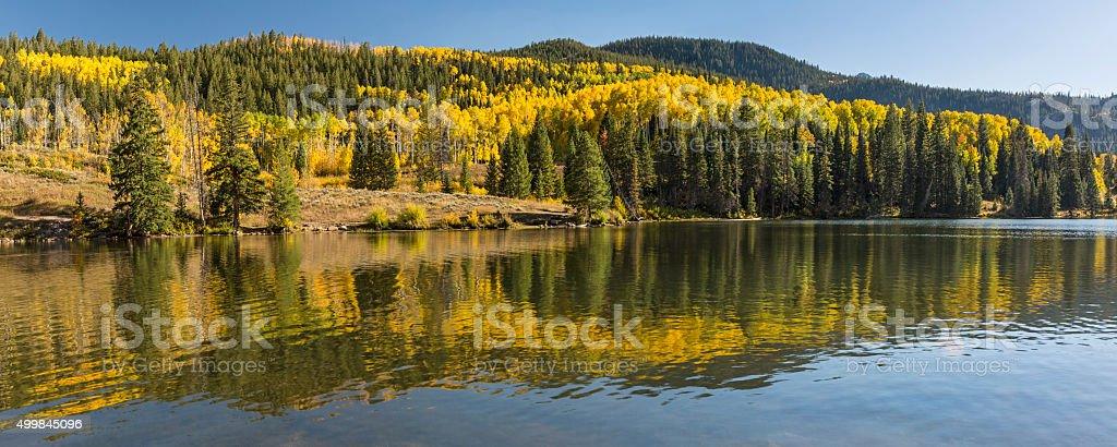 Lower Catacract Lake Autumn Panorama stock photo