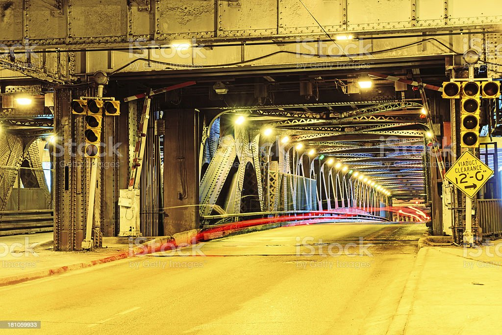 Lower Deck, Michigan Avenue Bridge, downtown Chicago stock photo