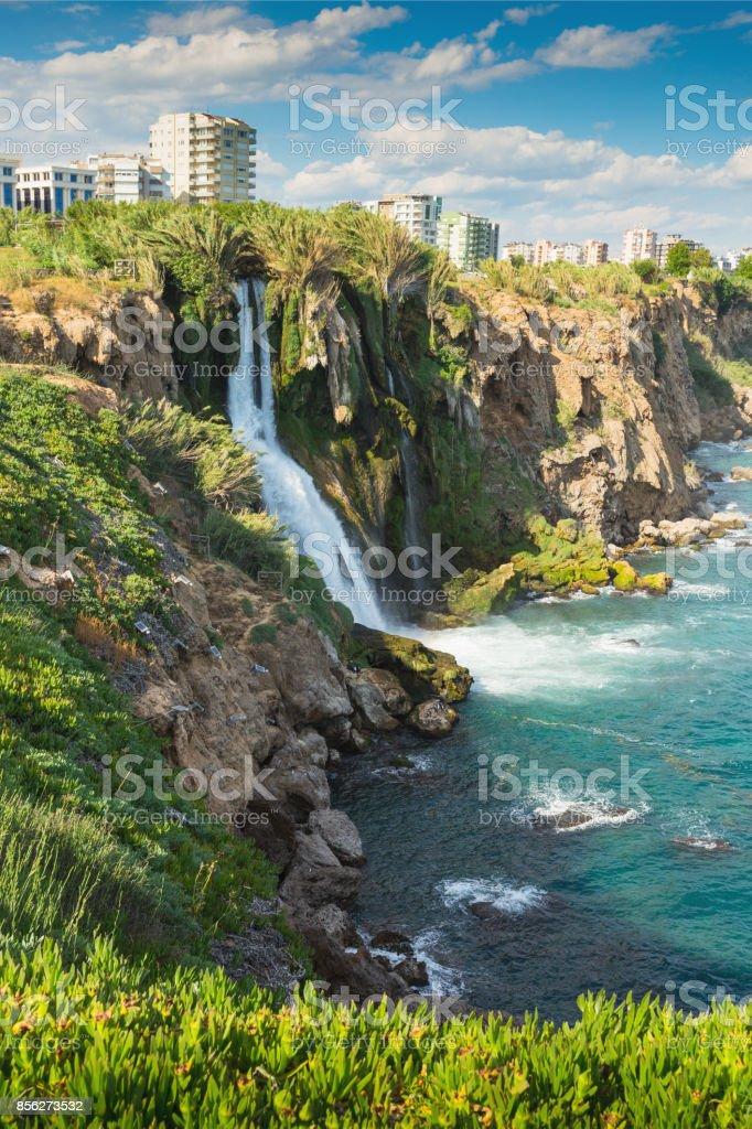 Lower Duden waterfall on the Mediterranean coast stock photo