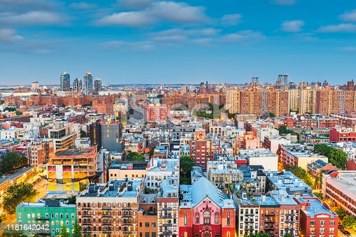 Lower East Side aerial view towards Brooklyn at twilight in New York, New York, USA.