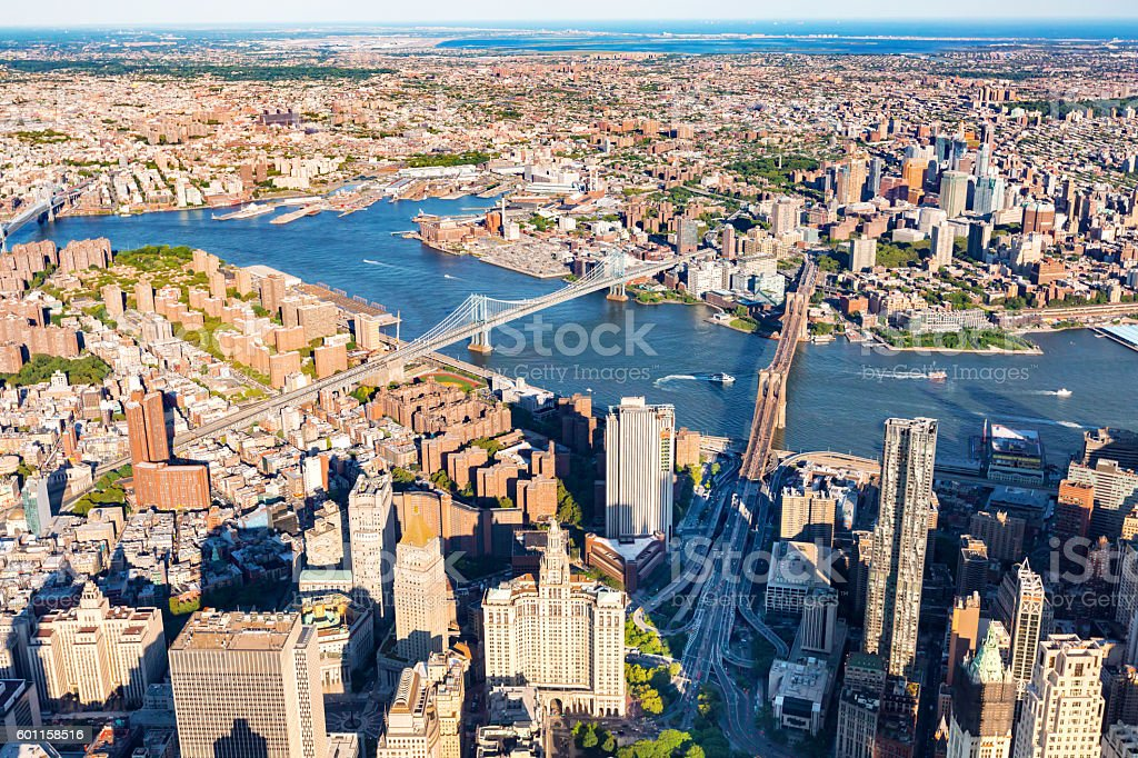 Lower East Side of Manhattan with Brooklyn in the background stock photo