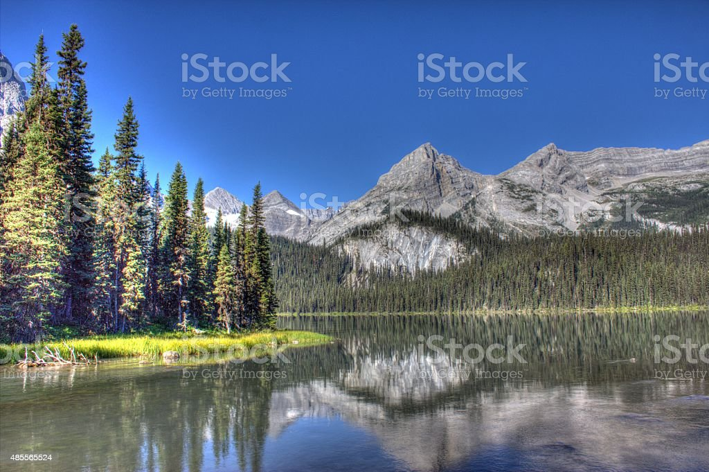 Lower Elk Lake HDR photo with Mount Elkan in background. stock photo