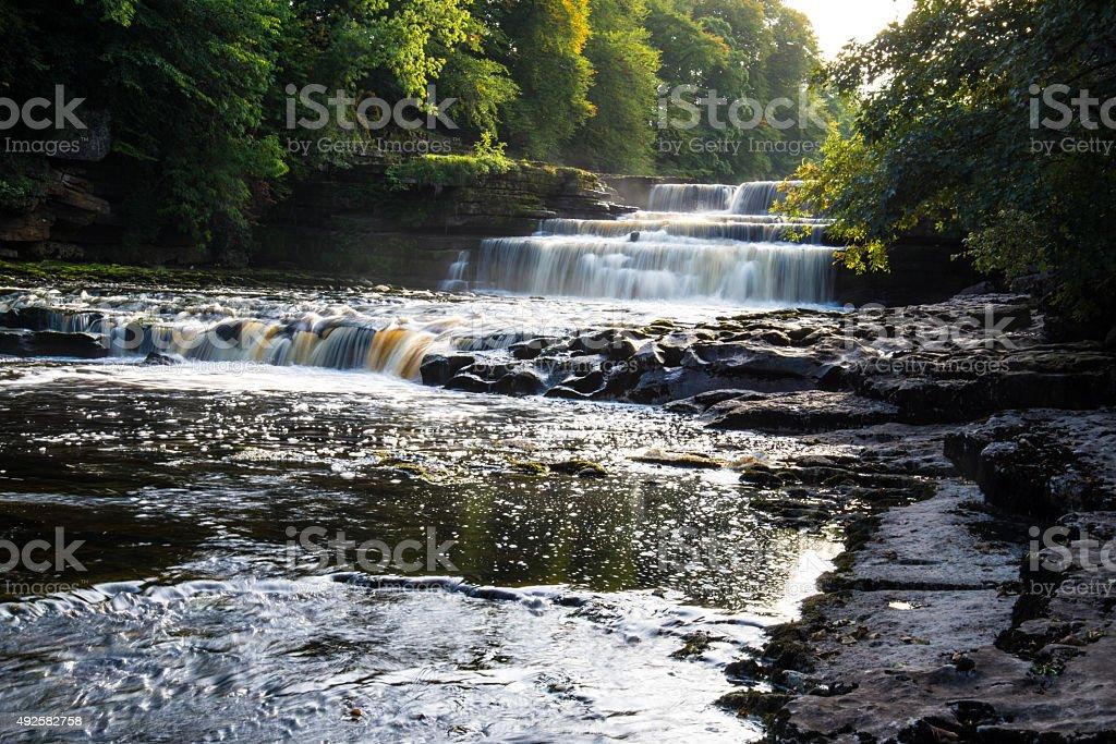 Lower falls at Aysgarth, North Yorkshire. stock photo