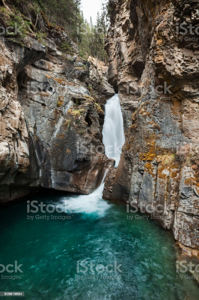 Lower Falls at Johnston Canyon in the Canadian Rocky Mountains, Alberta stock photo
