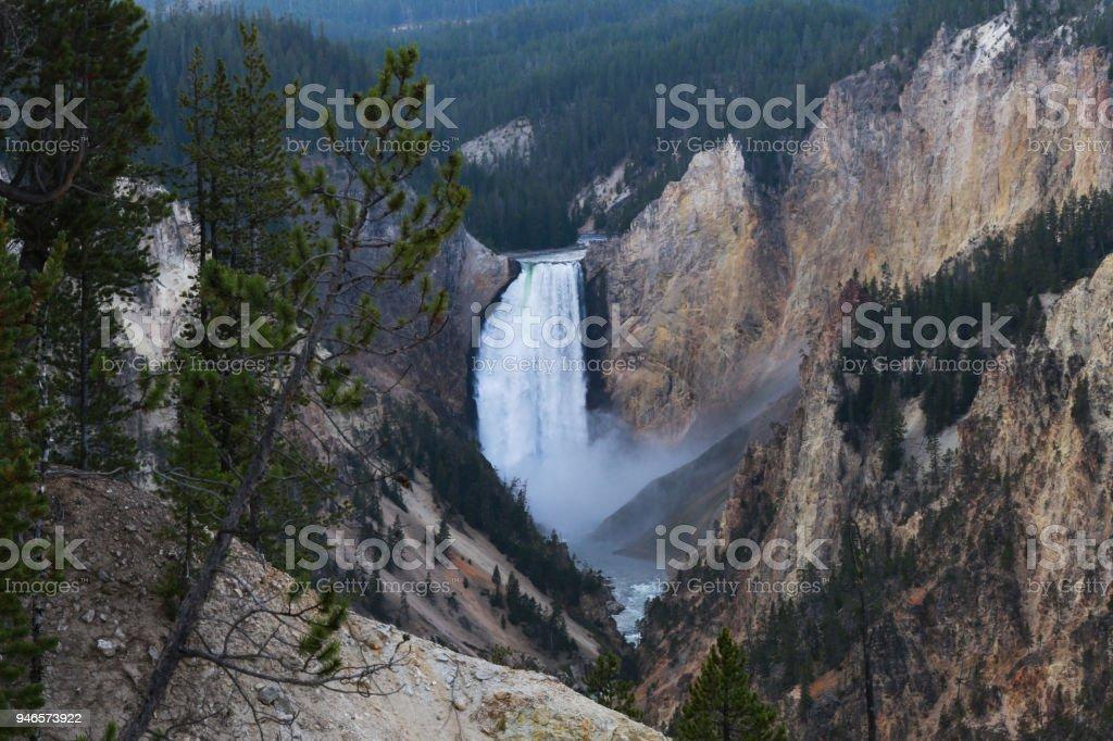 Lower Falls, Grand Canyon of Yellowstone National Park Waterfall stock photo