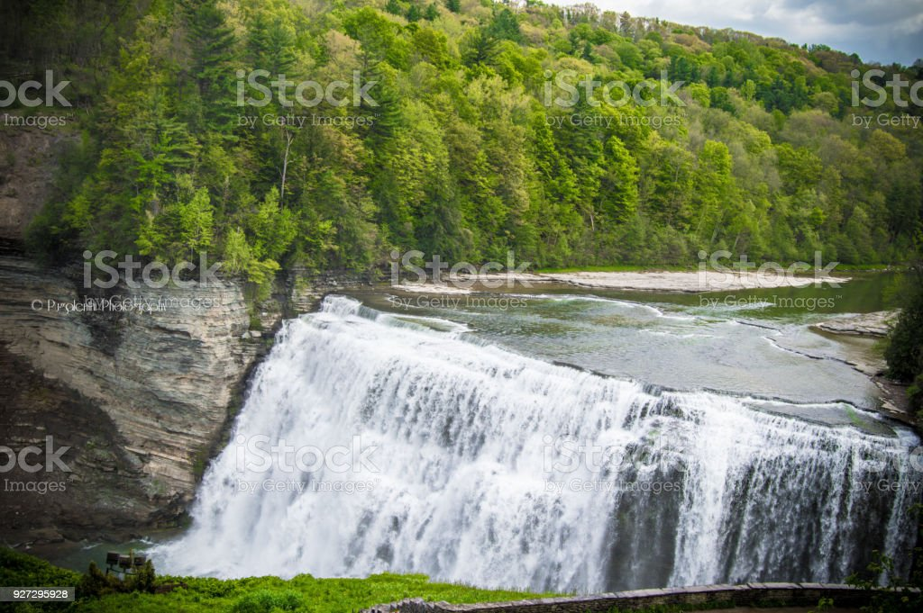 Lower Falls Letchworth State Park stock photo