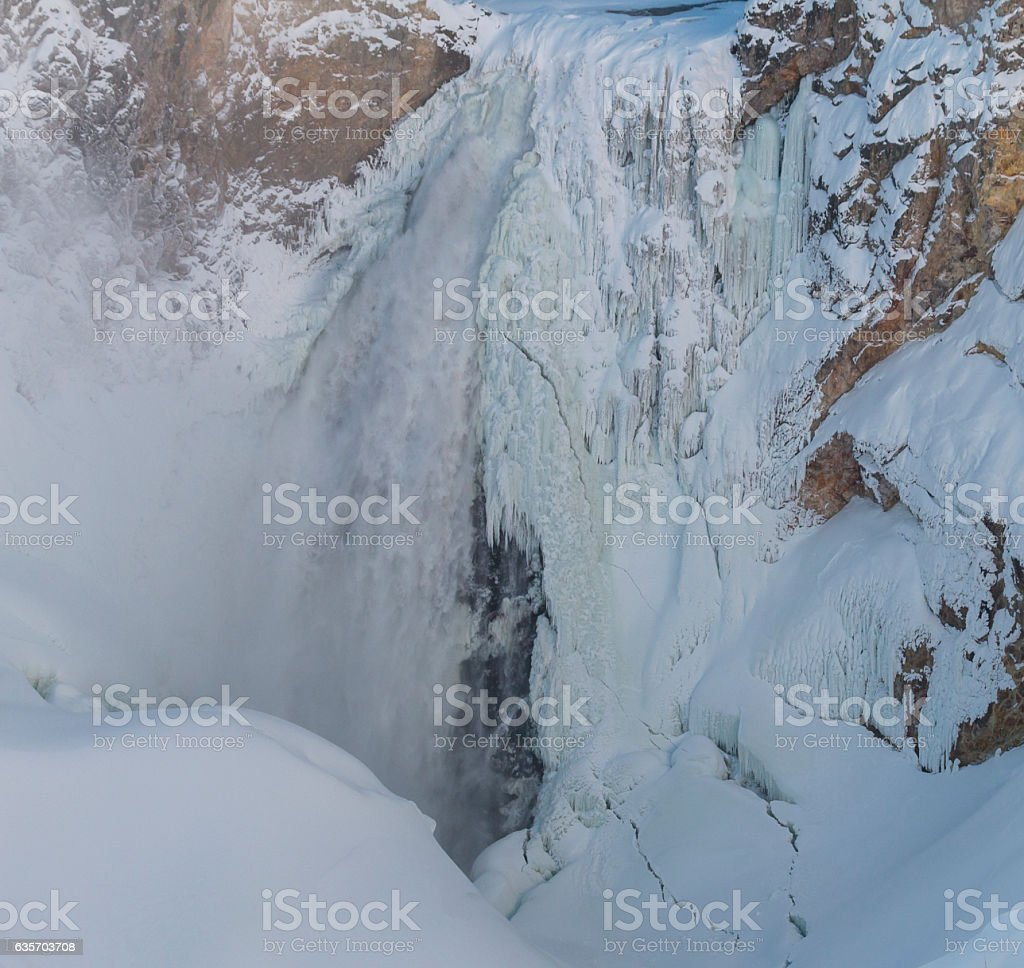 Lower Falls of the Yellowstone in winter, Yellowstone National P royalty-free stock photo