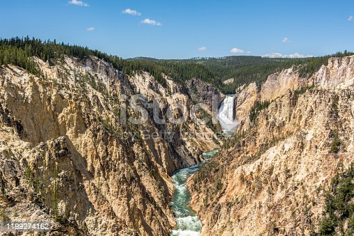 Lower Falls, the biggest waterfall in Yellowstone, is the most famous in the Park, USA