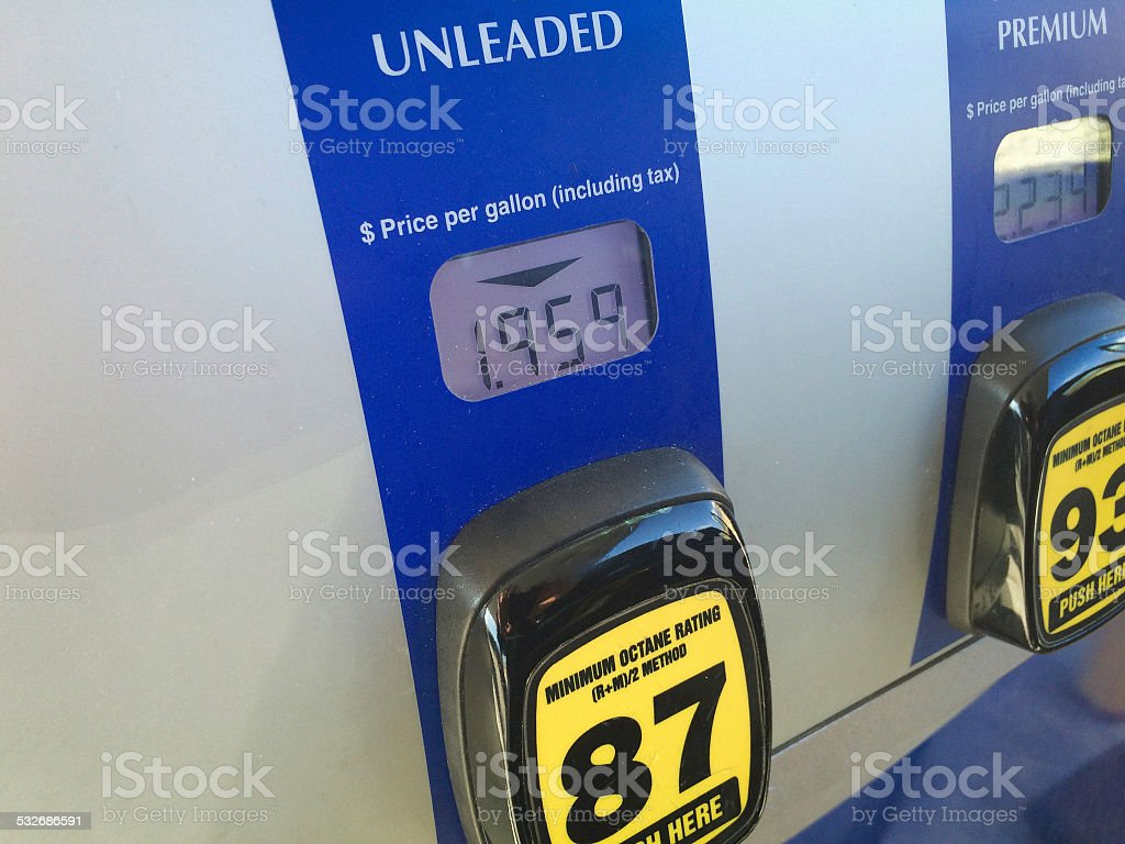 Lower Gasoline Prices at the Pump stock photo