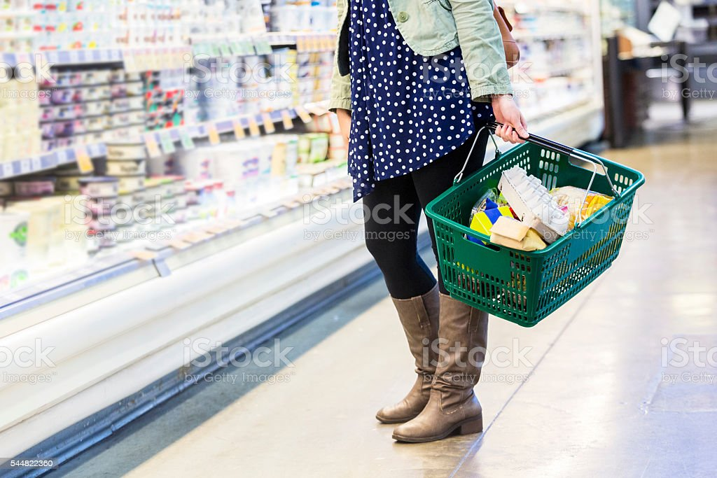 10/01/2016 Lower half of woman grocery shopping stock photo