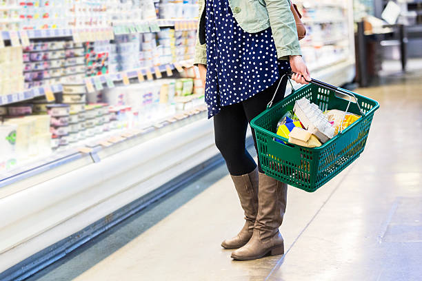 10/01/2016 Lower half of woman grocery shopping Lower half of a woman grocery shopping, she is holding a green shopping basket. shopping basket stock pictures, royalty-free photos & images