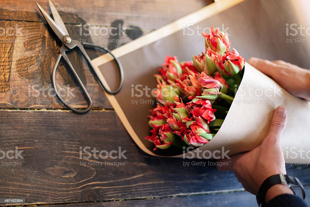 Аlower lays on the board stock photo