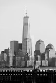 Lower Manhattan (One World Trade Center) and surrounding buildings in black and white