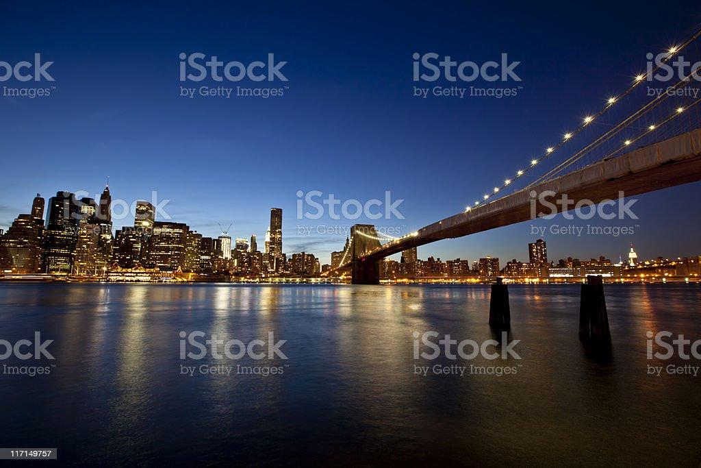 Lower Manhattan and Brooklyn Bridge stock photo