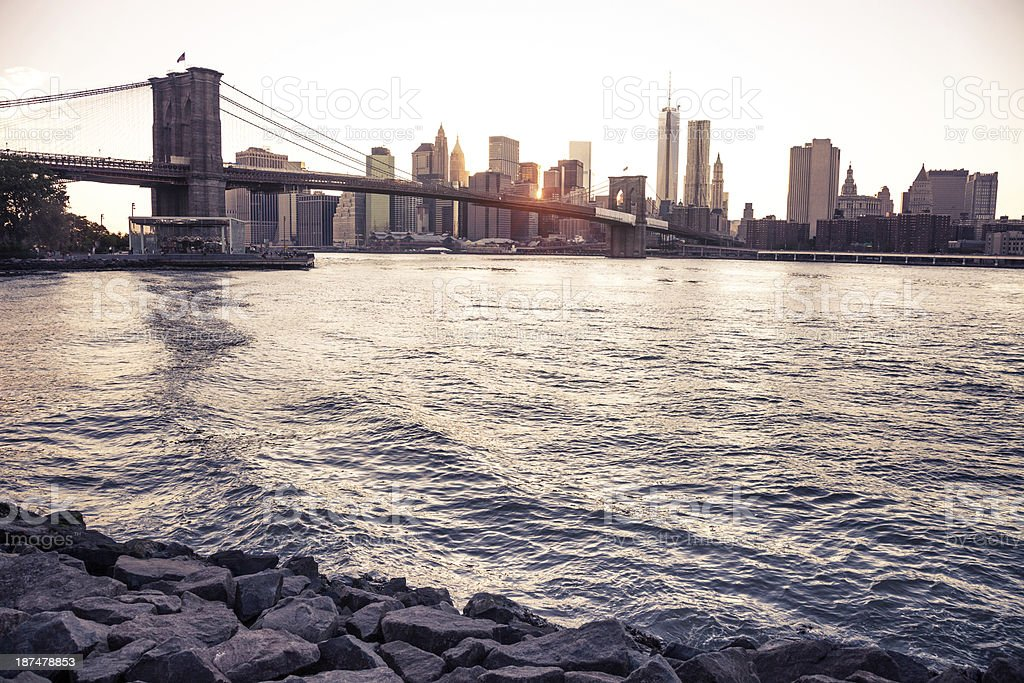 Lower Manhattan and Brooklyn Bridge royalty-free stock photo