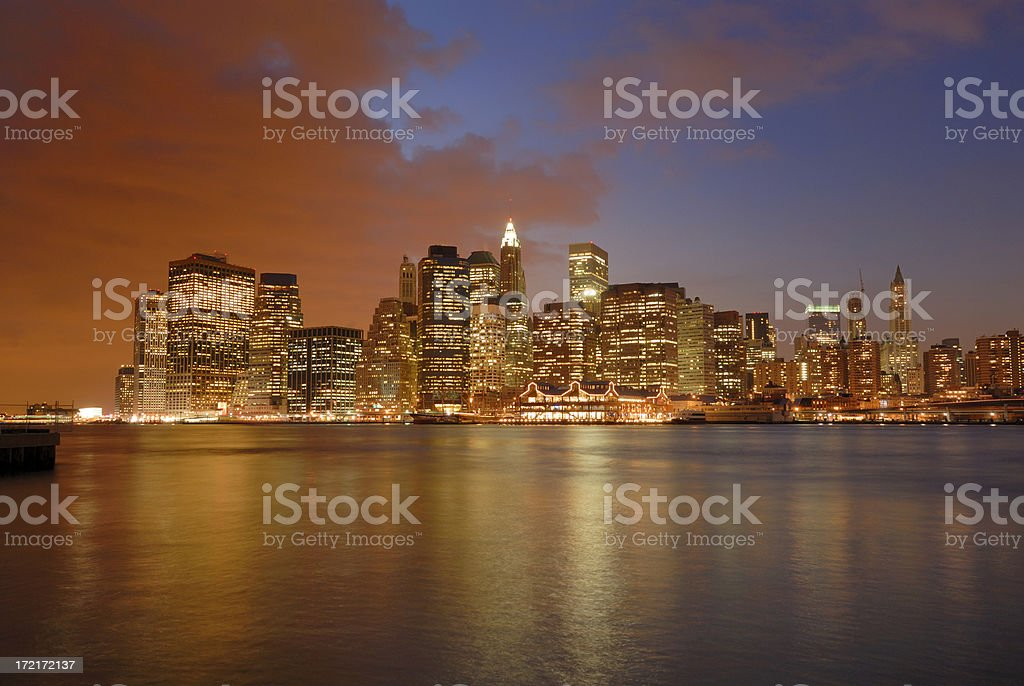 Lower Manhattan at dusk royalty-free stock photo