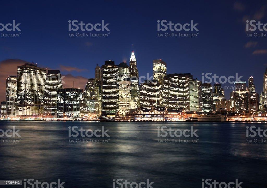 Lower Manhattan at Night stock photo