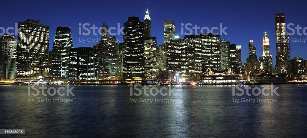 Lower Manhattan at night royalty-free stock photo