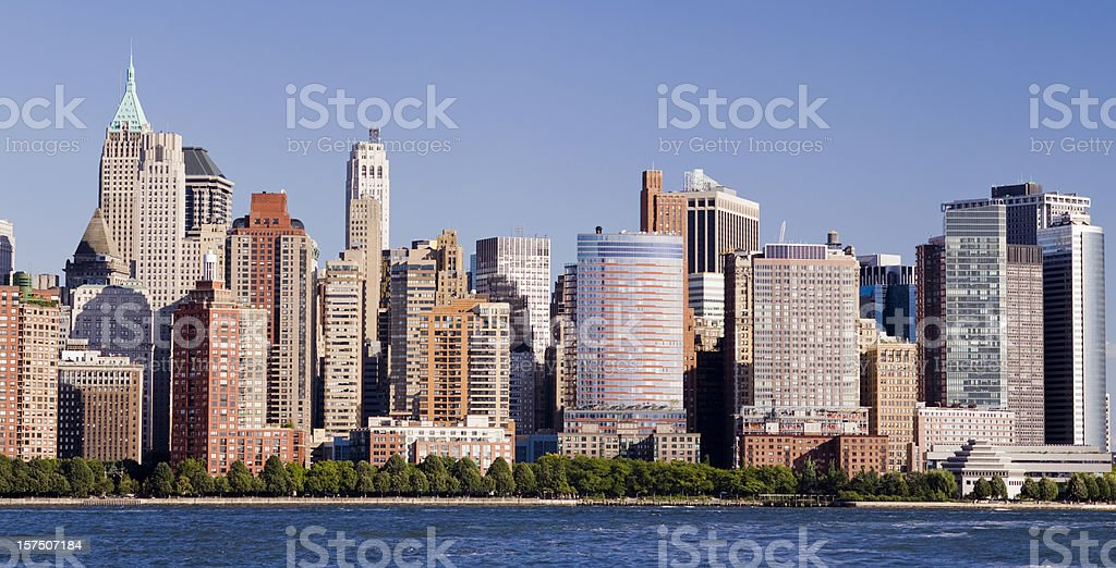 Lower Manhattan City Skyline in New York USA royalty-free stock photo