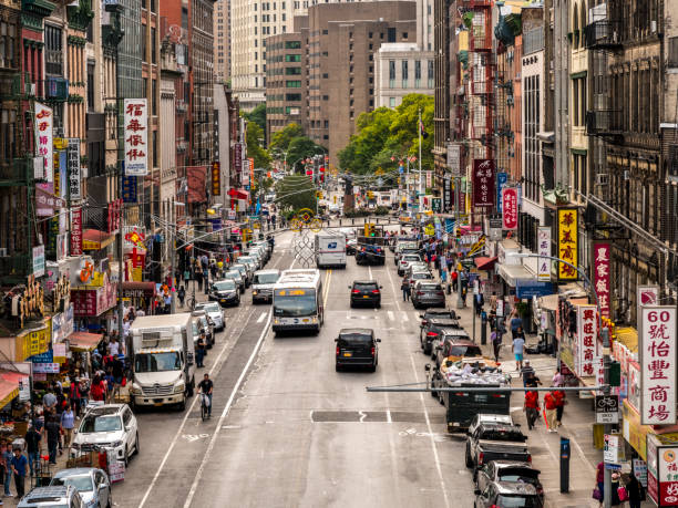 Lower Manhattan cityscape - Chinatown, NYC, USA stock photo