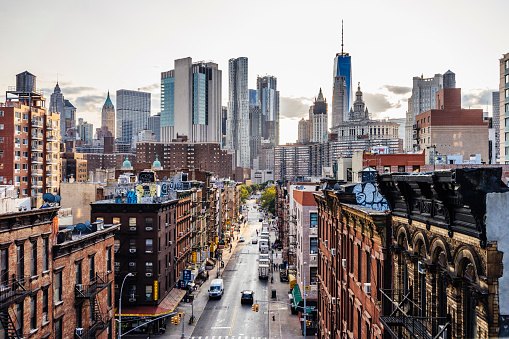 Lower Manhattan cityscape. Chinatown in foreground and Wall street in the background.