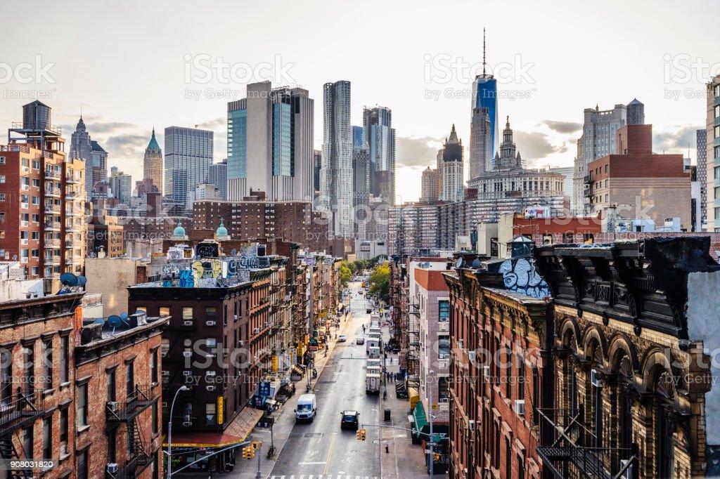 Lower Manhattan cityscape - Chinatown stock photo