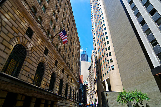 Lower Manhattan Cityscape, Federal Reserve Bank building, New York City stock photo