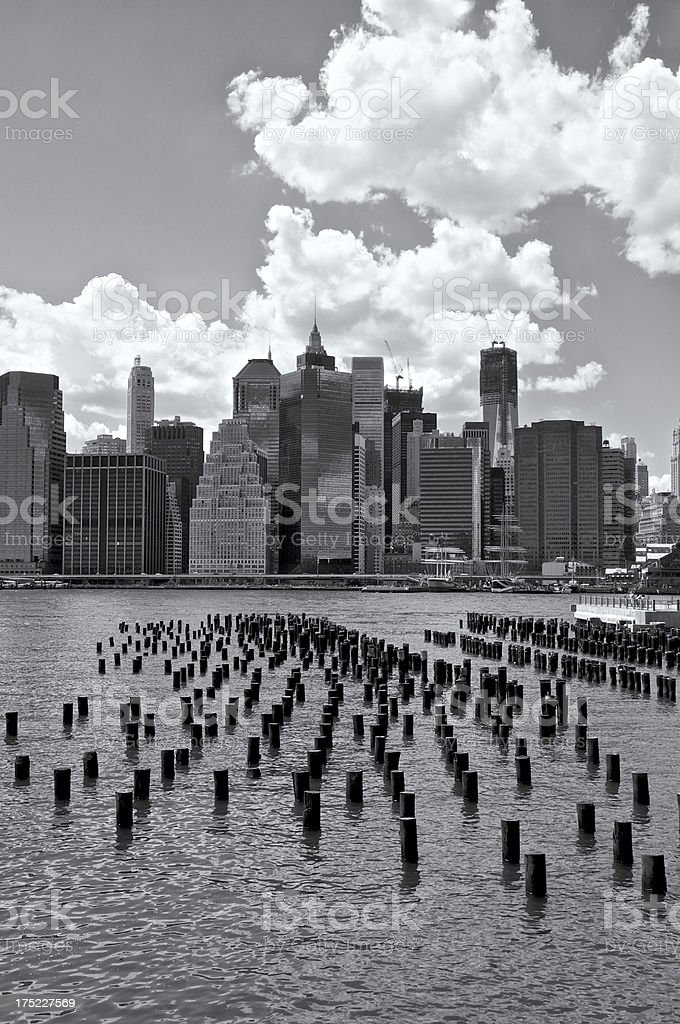 Lower Manhattan cityscape seen from Brooklyn Heights waterfront, NYC royalty-free stock photo