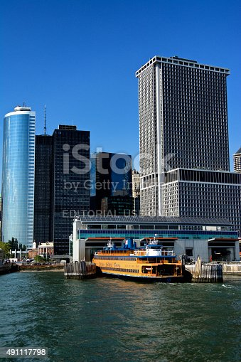 New York City, USA - August 14, 2015: A Staten Island Ferry seen at it's dock in Lower Manhattan, New York Harbor.