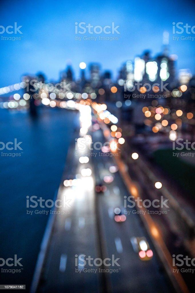 Lower Manhattan - Downtown New York skyline at dusk stock photo