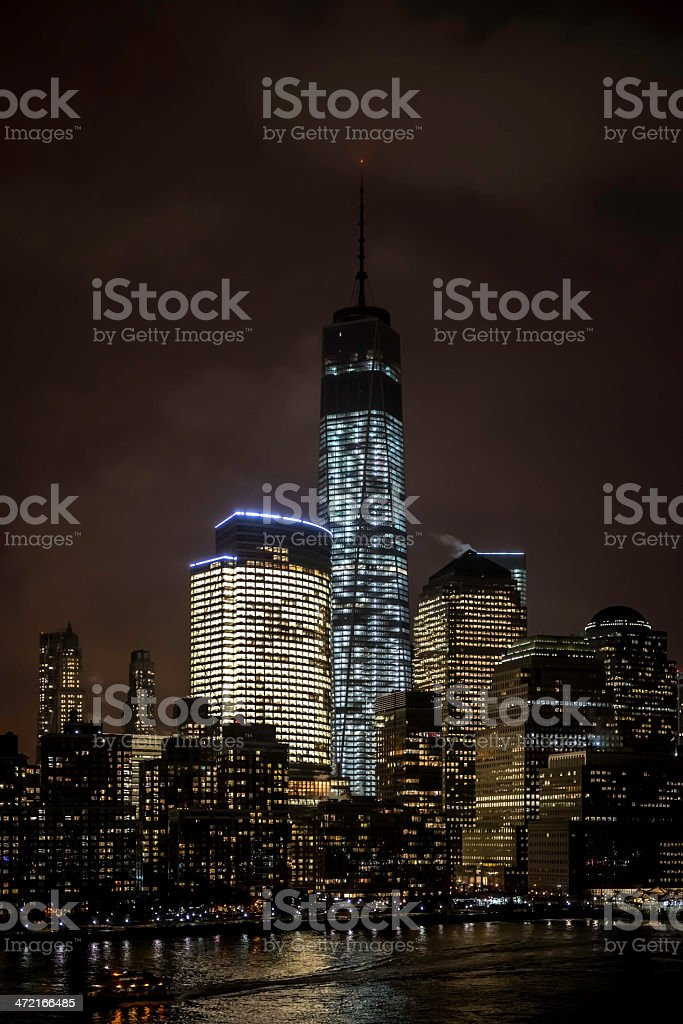 Lower Manhattan Financial District by Night - III royalty-free stock photo